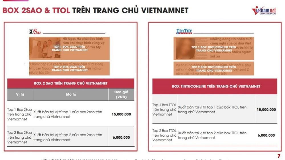 Báo giá đăng bài quảng cáo PR trên báo Vietnamnet.vn mới nhất